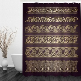 3D Yellow Floral Pattern Polyester Waterproof and Eco-friendly Brown Shower Curtain