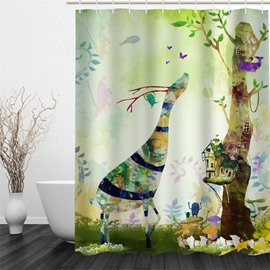 3D Cartoon Deer Pattern Polyester Waterproof and Eco-friendly Shower Curtain