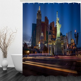 3D The Statue of Liberty and Buildings Polyester Waterproof and Eco-friendly Shower Curtain