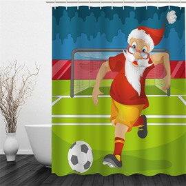 3D Christmas Father Playing Football Printed Polyester Waterproof and Eco-friendly Shower Curtain