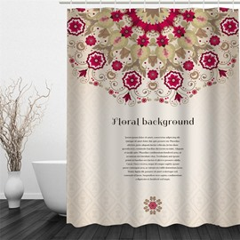 3D Floral Background Pattern Polyester Waterproof and Eco-friendly Shower Curtain