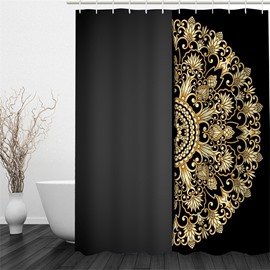 3D Semi-circle Yellow Floral Pattern Polyester Waterproof and Eco-friendly Black Shower Curtain