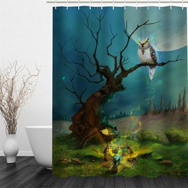 3D Owl on Tree in Moon Sky Polyester Waterproof and Eco-friendly Shower Curtain