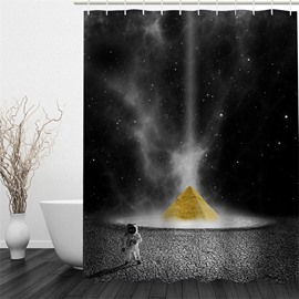 3D Spaceman in Universe Printed Polyester Waterproof and Eco-friendly Shower Curtain