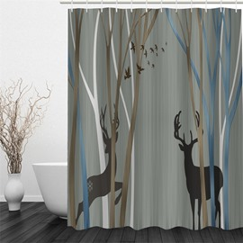 3D Deer and Birds in Forest Printed Polyester Waterproof and Eco-friendly Shower Curtain