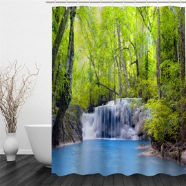 3D Green Forest and Stream Printed Polyester Waterproof and Eco-friendly Shower Curtain