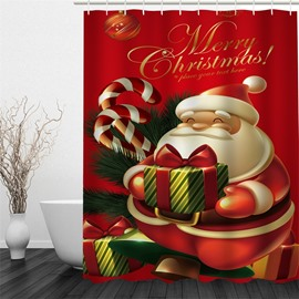 3D Christmas Father with Gift Polyester Waterproof and Eco-friendly Shower Curtain