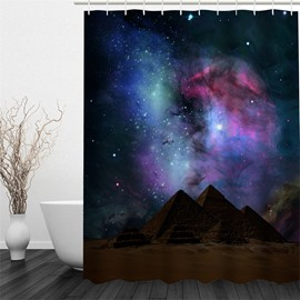 3D The Milky Way Pattern Polyester Waterproof Antibacterial and Eco-friendly Shower Curtain
