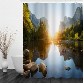 3D Mountains Trees Surrounding Lake in Sunshine Polyester Waterproof Antibacterial Eco-friendly Shower Curtain