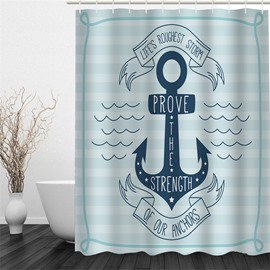 3D Stimulating Words Pattern Polyester Waterproof Antibacterial and Eco-friendly Shower Curtain