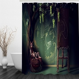 3D Magic Tree Printed Polyester Waterproof Antibacterial and Eco-friendly Shower Curtain