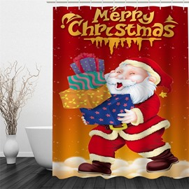 3D Christmas Father with Gifts Pattern Polyester Waterproof and Eco-friendly Shower Curtain