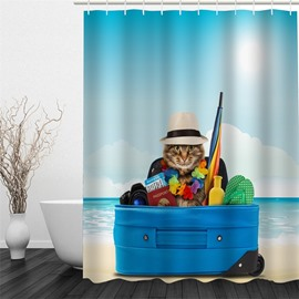 3D Kitten with Travelling Equipment Polyester Waterproof Antibacterial and Eco-friendly Shower Curtain