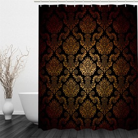 3D Brown Pattern Vintage Style Polyester Waterproof Antibacterial and Eco-friendly Shower Curtain