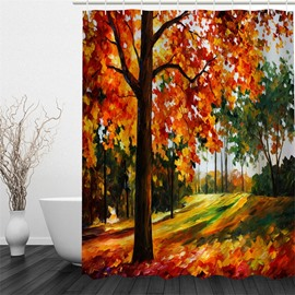 3D Tress Oil Painting Pattern Polyester Waterproof Antibacterial and Eco-friendly Shower Curtain
