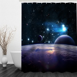 3D Galaxy and Planets Pattern Polyester Waterproof Antibacterial and Eco-friendly Shower Curtain