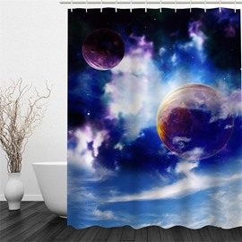 3D Planets Pattern Polyester Waterproof Antibacterial and Eco-friendly Shower Curtain