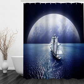3D Yacht Sailing in Sea and Planet Polyester Waterproof Antibacterial Eco-friendly Shower Curtain