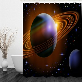 3D Operating Planet Printed Polyester Waterproof and Eco-friendly Shower Curtain