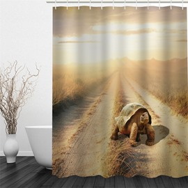 3D Tortoise in The Wild Pattern Polyester Waterproof Antibacterial and Eco-friendly Shower Curtain