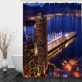 3D Skyscraper beside Lake Pattern Polyester Waterproof Antibacterial and Eco-friendly Shower Curtain