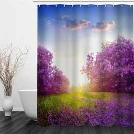 3D Purple Trees Pattern Polyester Waterproof and Eco-friendly Shower Curtain