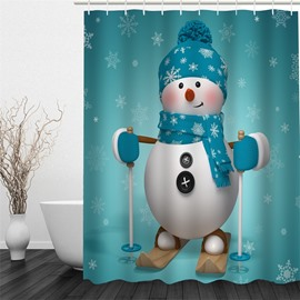 3D Snowy Kid Printed Polyester Waterproof and Eco-friendly Shower Curtain