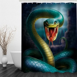 3D Snake Printed Polyester Waterproof and Eco-friendly Shower Curtain