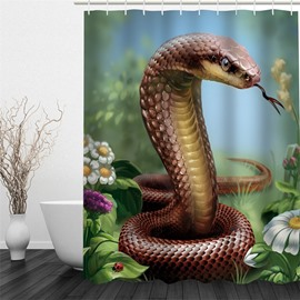 3D Brown Snake Pattern Polyester Waterproof and Eco-friendly Shower Curtain