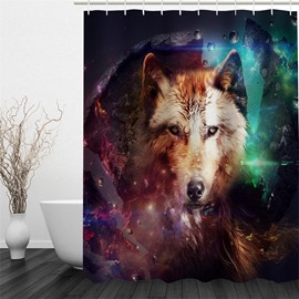 3D Wolf in Colored Hue Polyester Waterproof and Eco-friendly Shower Curtain