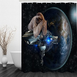 3D Bradypod on Spacecraft Polyester Waterproof Antibacterial and Eco-friendly Shower Curtain