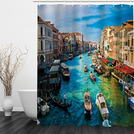 Water Tower Printed Polyester Waterproof Antibacterial and Eco-friendly Shower Curtain