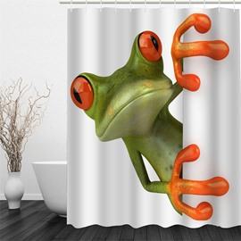 3D Hiding Frog behind Curtain Polyester Waterproof and Eco-friendly Shower Curtain