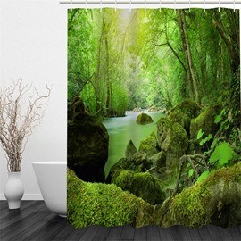 3D Green Forest and Stream Printed Polyester Waterproof Antibacterial and Eco-friendly Shower Curtain