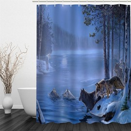 3D Wolves Printed Polyester Waterproof and Eco-friendly Shower Curtain