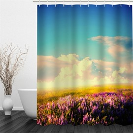 3D Lavender Field in Blue Sky Polyester Waterproof Antibacterial and Eco-friendly Shower Curtain