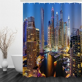 3D Skyscrapers in Night Polyester Waterproof Antibacterial and Eco-friendly Shower Curtain