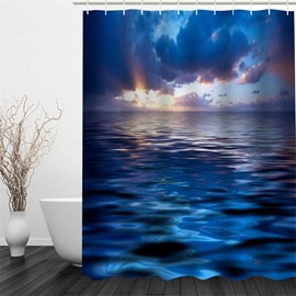 Blue Sea Printed Polyester Waterproof Mouldproof and Eco-friendly Shower Curtain