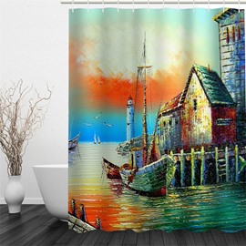 3D Houses beside Sea Polyester Waterproof Antibacterial and Eco-friendly Shower Curtain