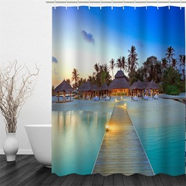 3D Cabins on Beach Printed Polyester Waterproof Antibacterial and Eco-friendly Shower Curtain