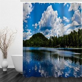 Blue Sky Reflected in Lake Pattern Polyester Waterproof Mouldproof and Eco-friendly Shower Curtain