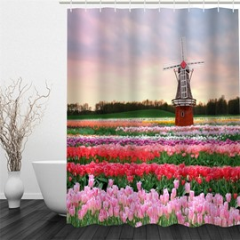 3D Flowers Field Printed Polyester Waterproof Antibacterial and Eco-friendly Shower Curtain