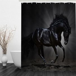3D Black Unicorn Pattern Polyester Waterproof Antibacterial and Eco-friendly Shower Curtain
