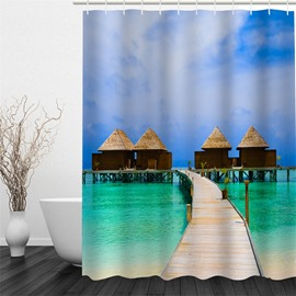 3D Wooden Path and Cabin Pattern Polyester Waterproof Antibacterial and Eco-friendly Shower Curtain