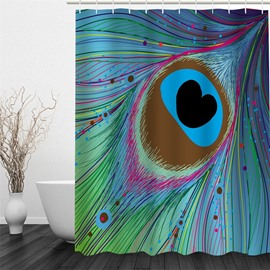 3D Feather of Peacock Pattern Polyester Waterproof Antibacterial and Eco-friendly Shower Curtain