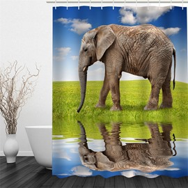 3D Walking Elephant beside Lake Polyester Waterproof Antibacterial and Eco-friendly Shower Curtain