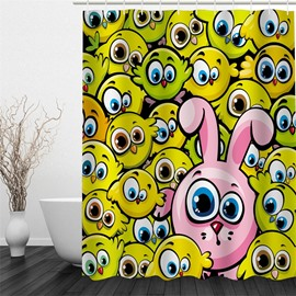 3D Rabbit and Birds Polyester Waterproof Antibacterial and Eco-friendly Shower Curtain