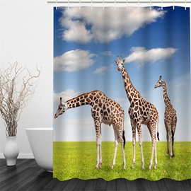 3D Giraffes on Lawn Polyester Waterproof Antibacterial and Eco-friendly Shower Curtain