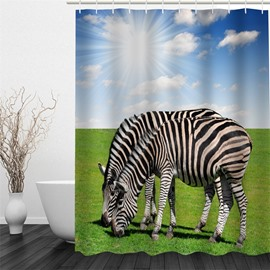 3D Zebras on Green Lawn Polyester Waterproof Antibacterial and Eco-friendly Shower Curtain