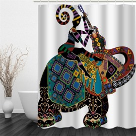 3D Girl with Guitar on Elephant Polyester Waterproof Antibacterial and Eco-friendly Shower Curtain